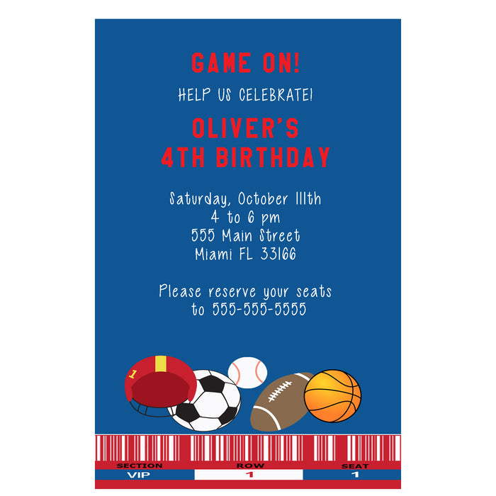 All sports blue invitations (set of 30)