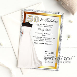30 White gold dress 50th birthday invitations