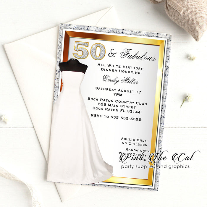 White gold dress 50th birthday invitation (set of 30)