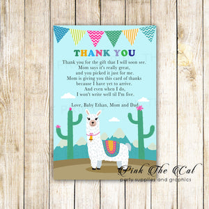 30 thank you cards alpaca llama with envelopes baby shower personalized