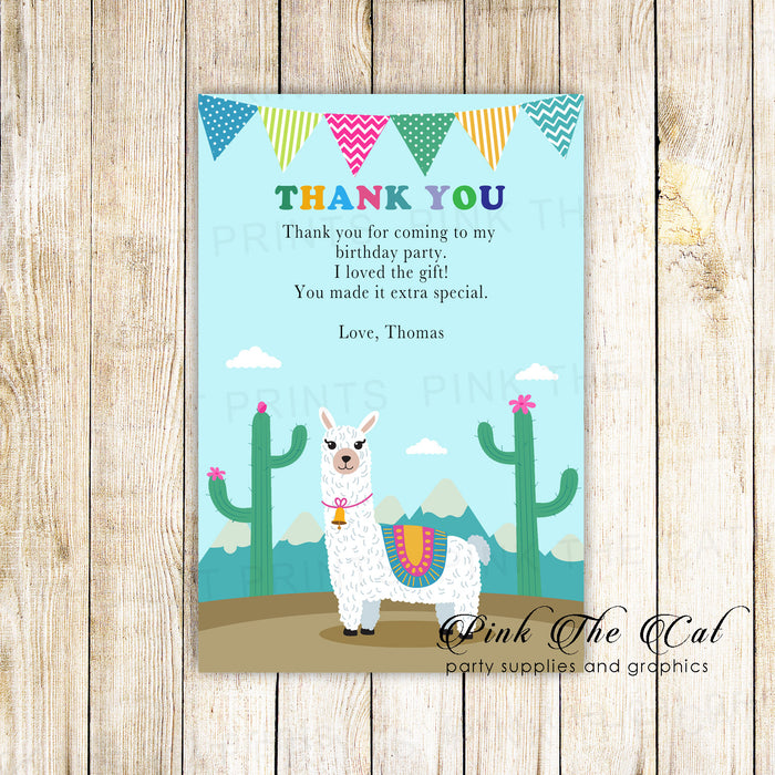 30 thank you cards alpaca birthday with envelopes