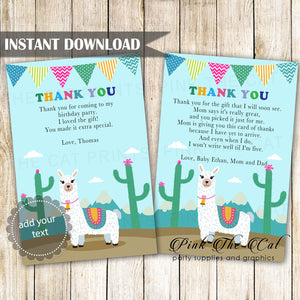 Alpaca Llama Thank You Card Printable Instant Download