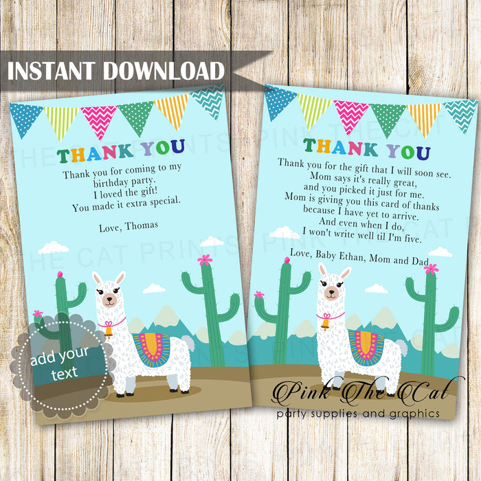 Alpaca Llama Thank You Card Printable
