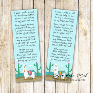 50 bookmarks llama alpaca baby shower favors