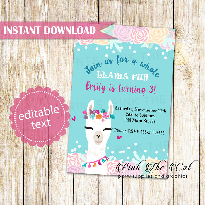Llama Invitation Floral Pink Printable