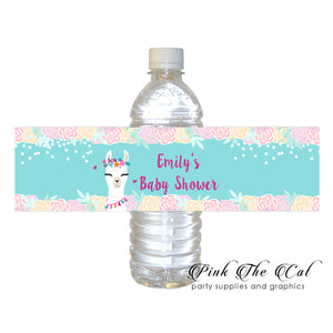 Alpaca llama bottle label printable birthday baby shower favors