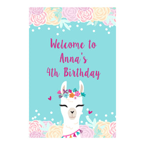 Alpaca head girl welcome sign birthday baby shower printable personalized