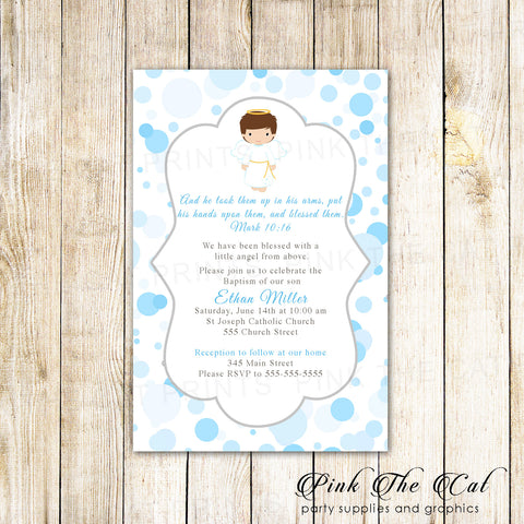30 invitations boy baptism christening communion blue angel