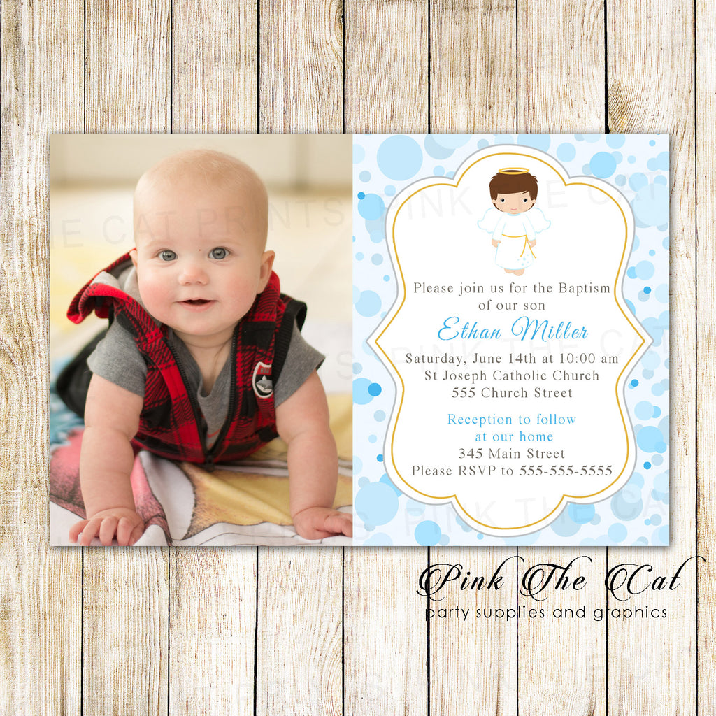 30 invitations boy baptism christening blue angel photo card