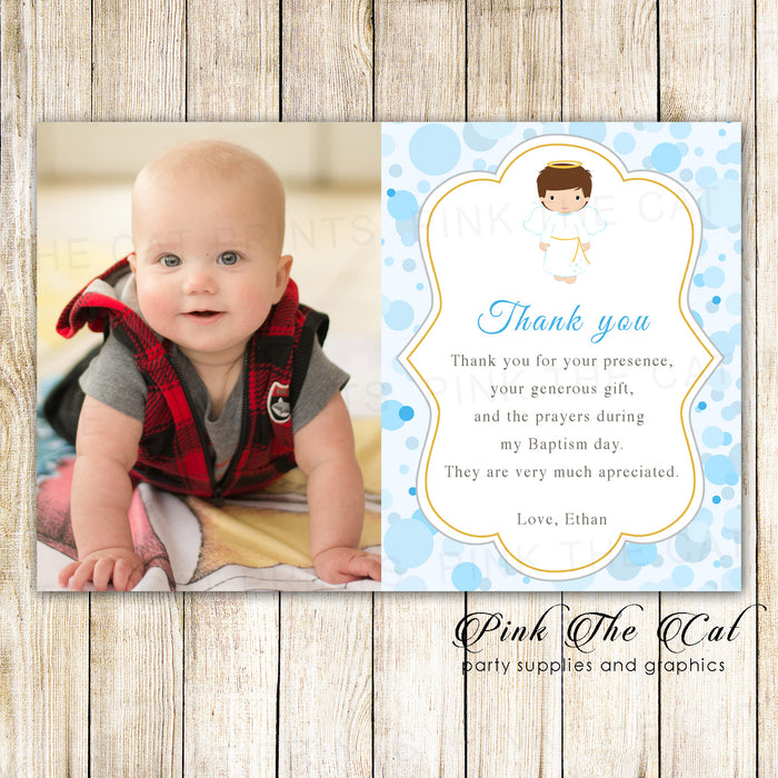 30 Boy Baptism Christening Thank You Notes Angel Photo Printable