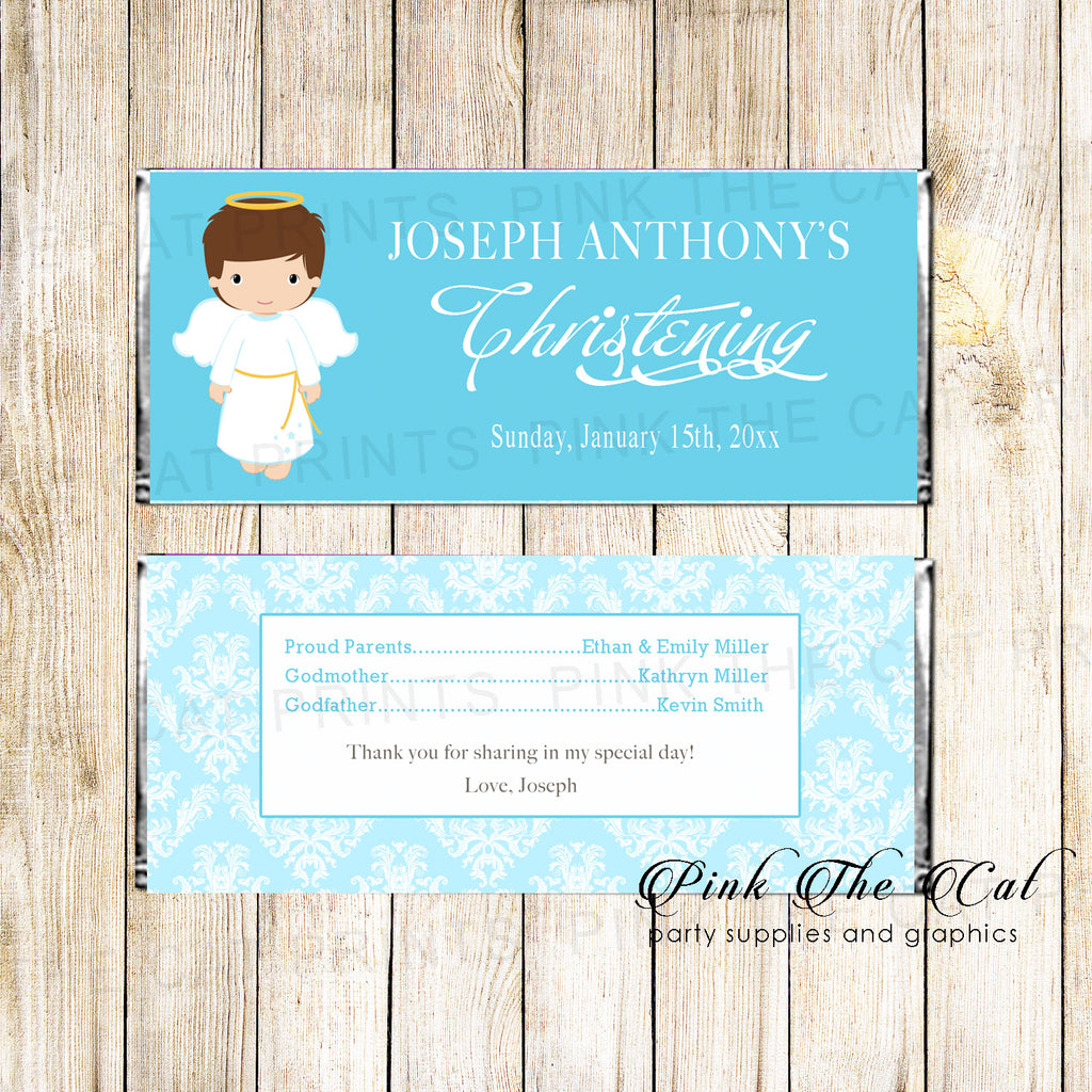 30 Candy Bar Wrappers Angel Boy Baptism Christening