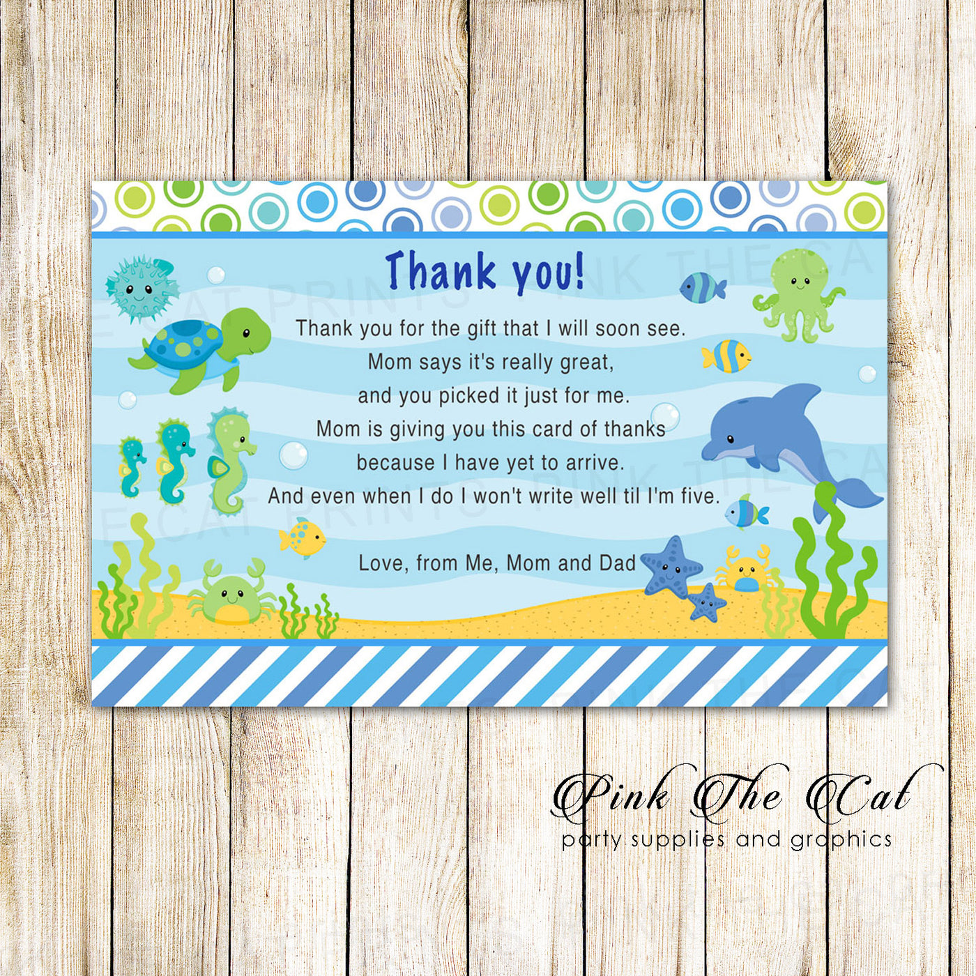image regarding Under the Sea Printable named Aquarium below the sea thank by yourself playing cards youngster shower printable