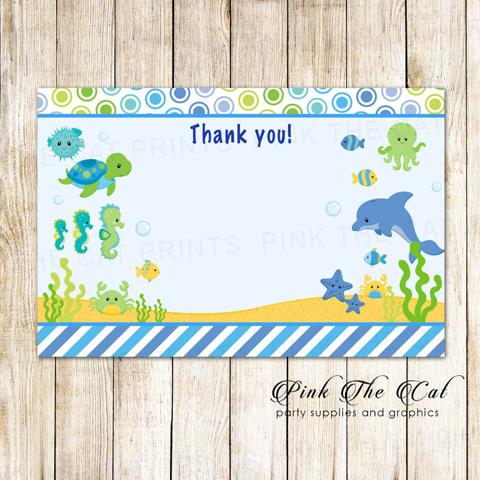 30 thank you cards blank under the sea aquarium + envelopes