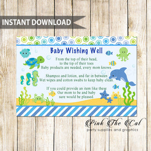 Wishing Well Card Baby Shower Under The Sea Animals Printable