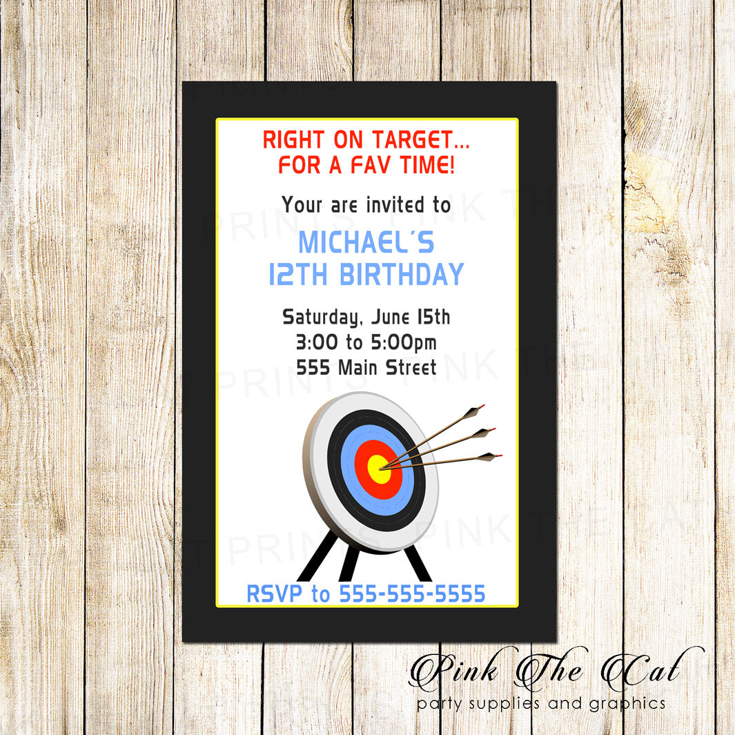 Archery Boy Kids Sports Birthday Invitation Printable Pink The Cat