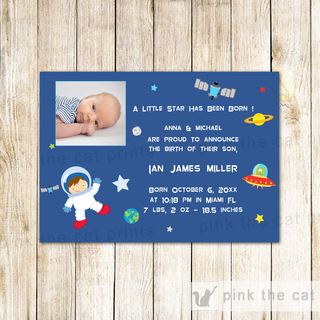 Astronaut Baby Boy Birth Announcement Photo Card Space Planets