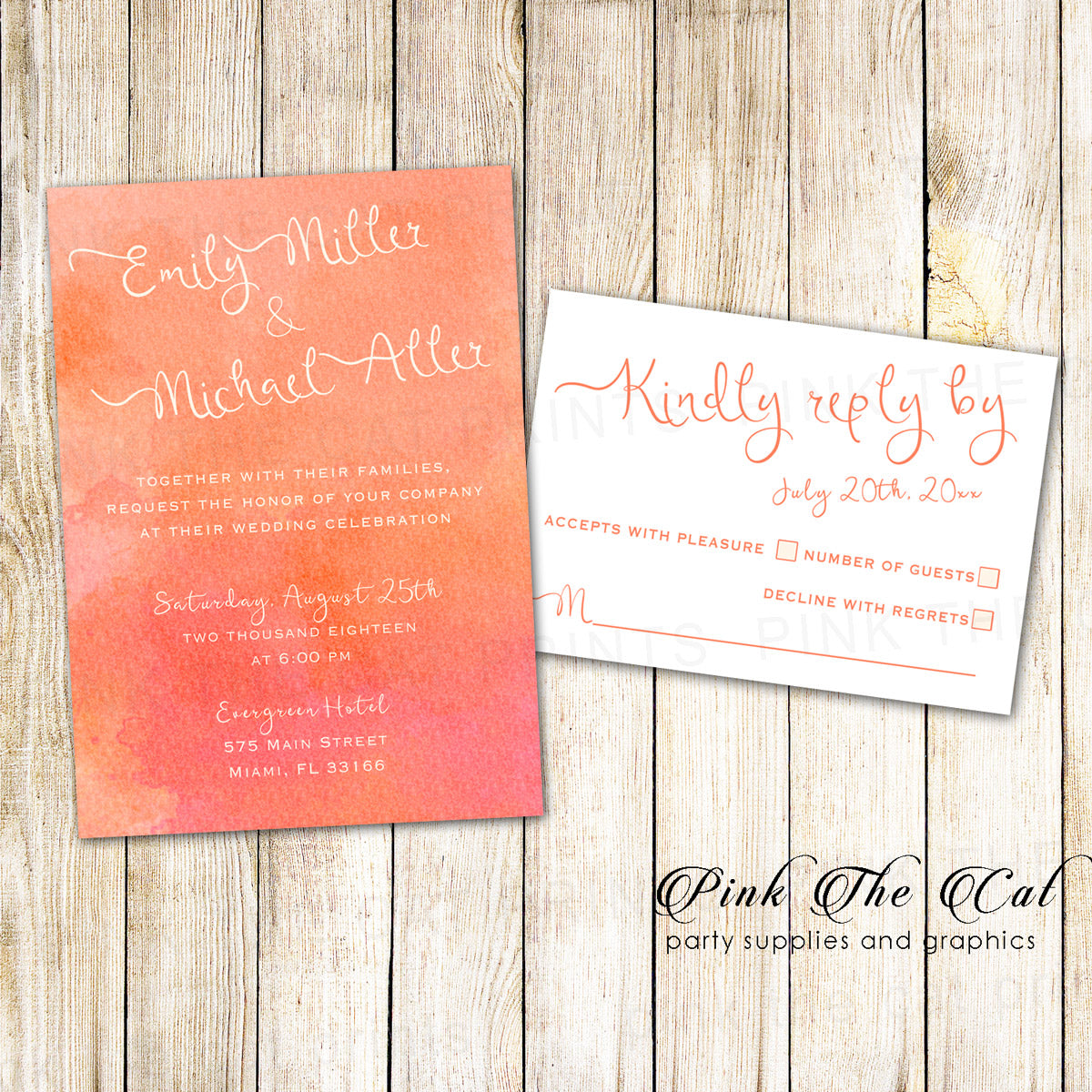 picture about Printable Rsvp Cards named Orange Watercolor Wedding day Invitation RSVP Card