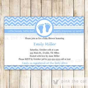 baby boy shower invitation blue chevron