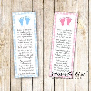 Bookmarks gingham baby shower printable girl boy pink or blue