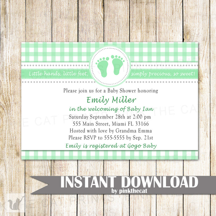 Baby Shower Invitation Lime Green Gingham