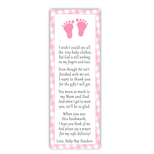 25 bookmarks gingham baby shower