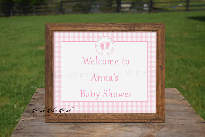 Pink Gingham Baby Girl Shower Welcome Sign Printable