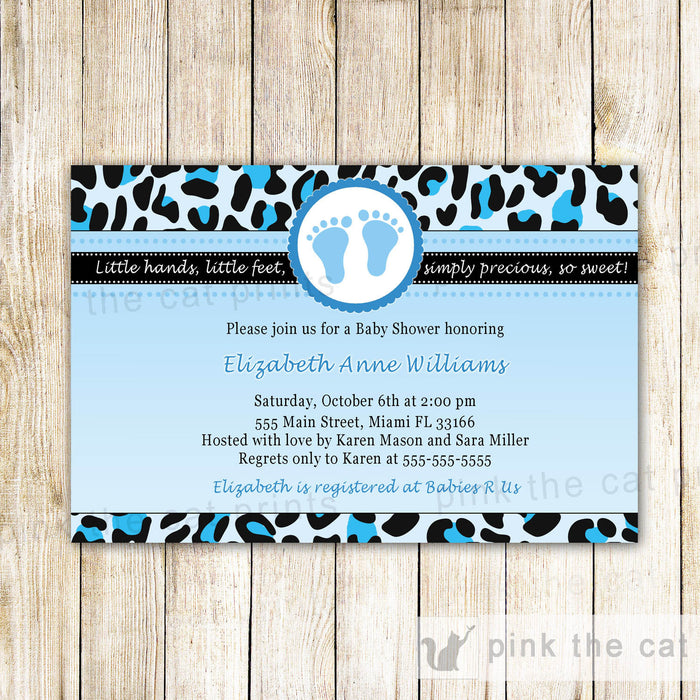 Leopard Baby Boy Shower Invitation Blue Black Feet
