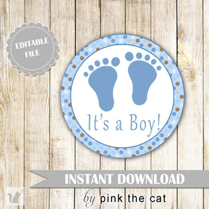 Baby Boy Shower Gift Favor Label Sticker Blue Brown Polka Dots