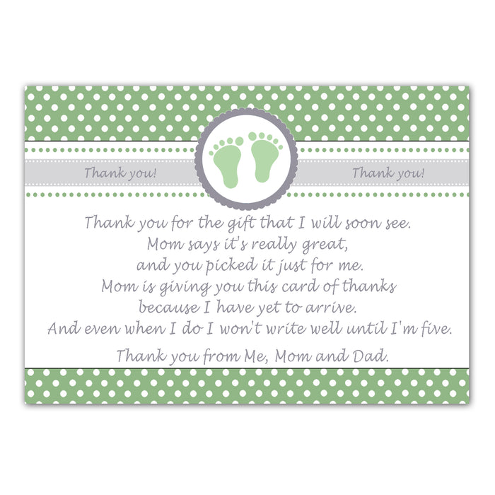 30 thank you cards baby shower green + envelopes