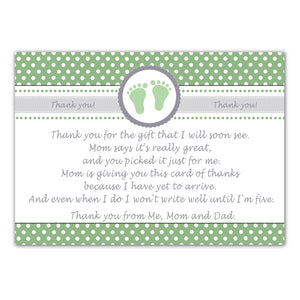 30 thank you cards baby shower green unisex footprints