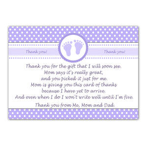 30 thank you cards girl baby shower lavender + envelopes
