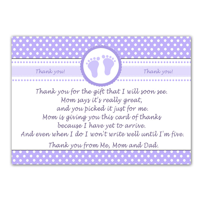 30 thank you cards baby shower lavender + envelopes
