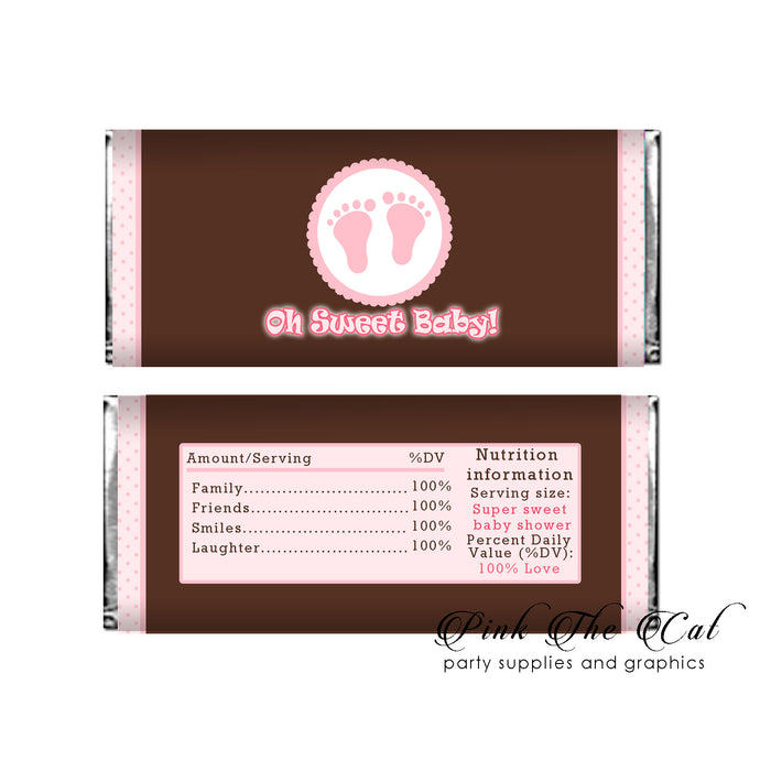 Sweet baby candy label pink brown (set with 30)