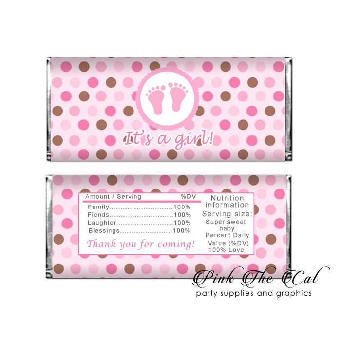 Baby shower candy label pink brown (set with 30)
