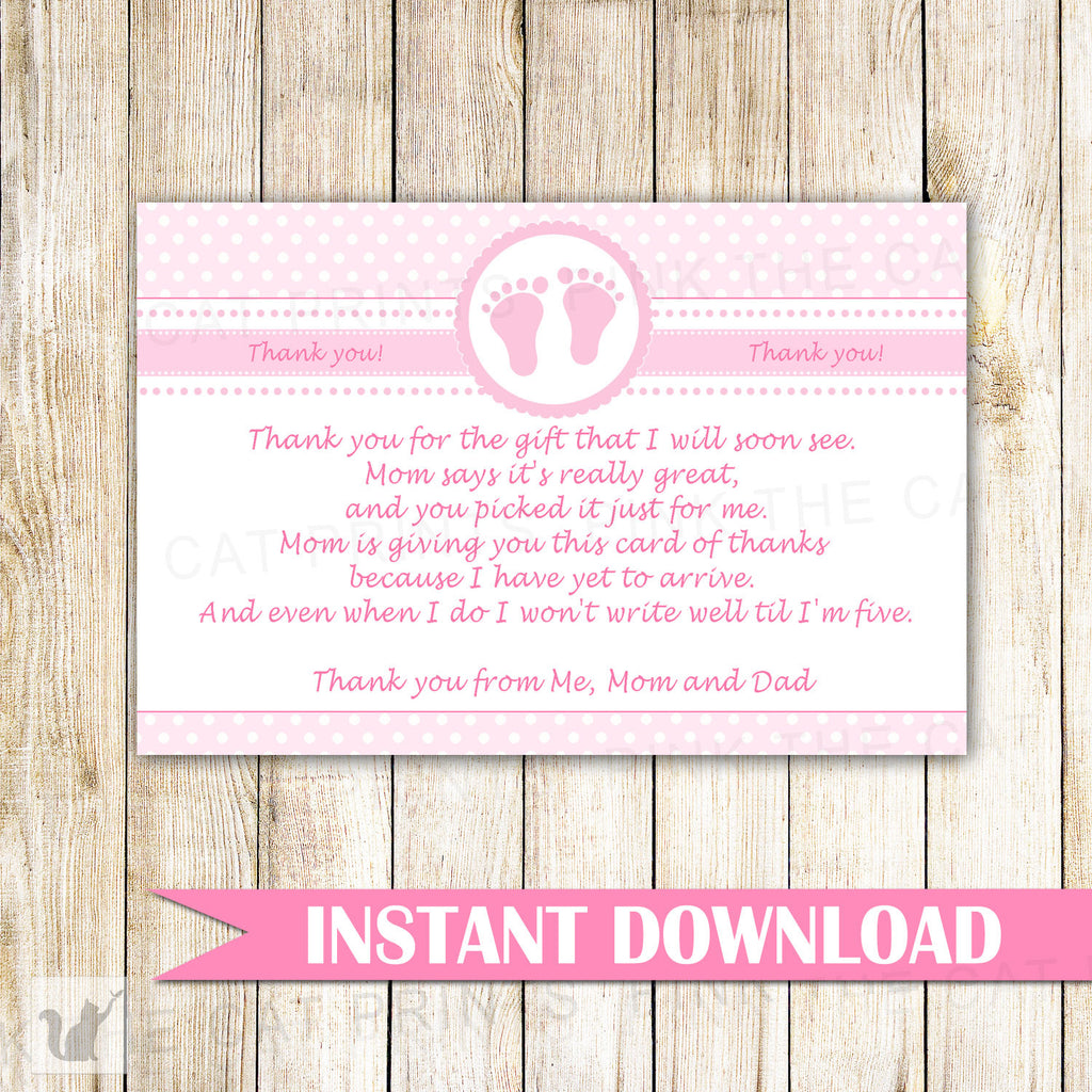 Baby Girl Shower Thank You Card Note Pink White