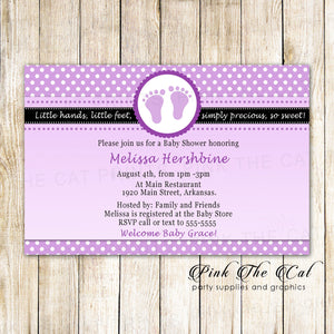30 Cards Footprints Baby Shower Invitation Purple Black