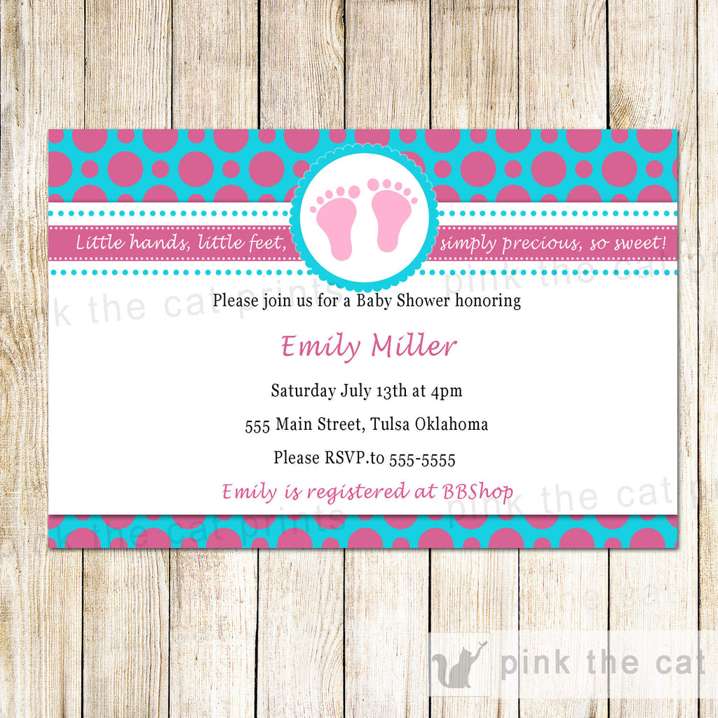 Baby shower invitations pink the cat baby girl shower invitation pink teal polka dots feet filmwisefo Gallery