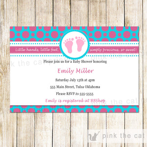 Baby Girl Shower Invitation Pink Teal Polka Dots Feet