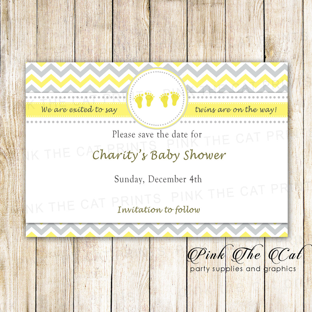 30 Cards Twins Baby Shower Save The Date Yellow Gray