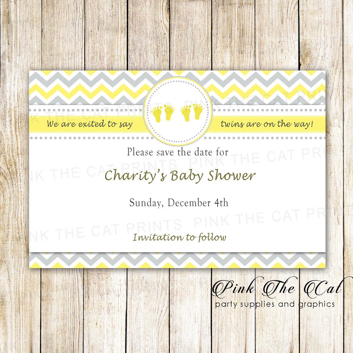 30 Cards Twins Baby Shower Save The Date Yellow Gray Pink The Cat