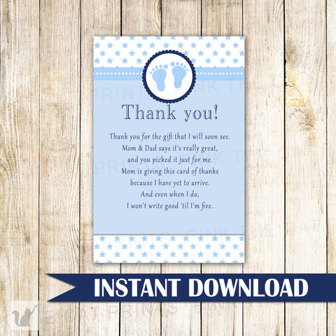 Baby Boy Shower Thank You Card Note Blue Stars
