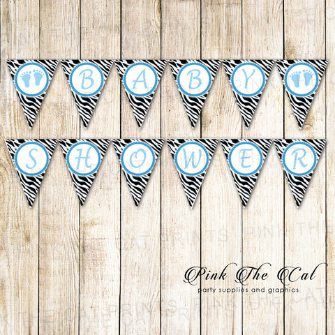 Baby Shower Flag Banner Zebra Blue Black
