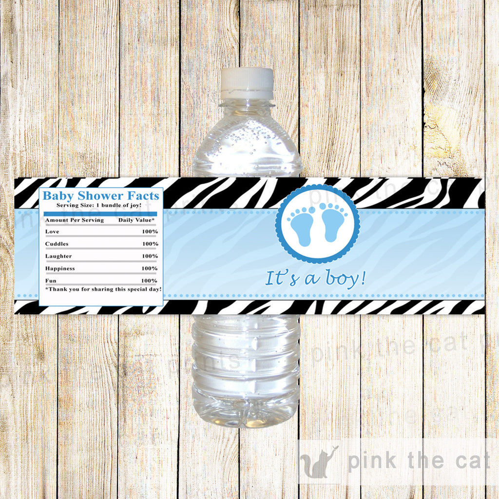 Baby Boy Shower Water Bottle Label Wrapper Blue Zebra Feet