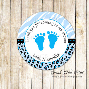 40 Stickers Footprints Baby Shower Favor Label Sticker Blue Black