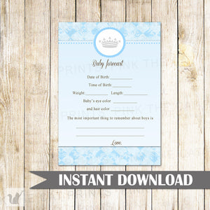Baby Forecast Advice Card Baby Boy Shower Blue Prince
