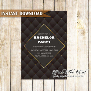 Bachelor invitation black gold instant downlooad printable