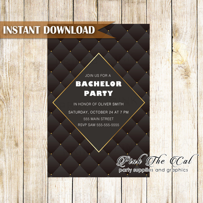 Bachelor invitation black gold printable