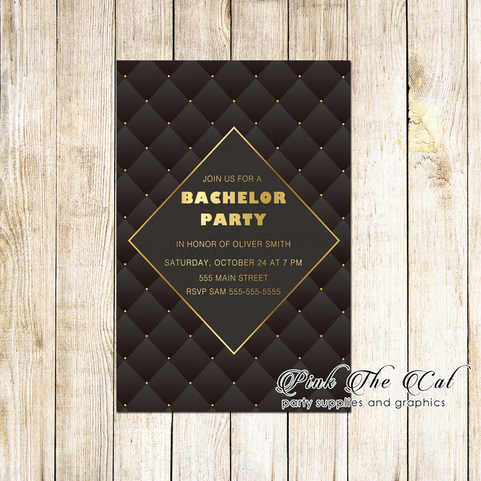 Bachelor invitation black gold & envelopes (set of 30)