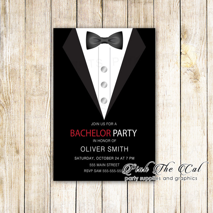 Bachelor invitation black tuxedo (set of 30)