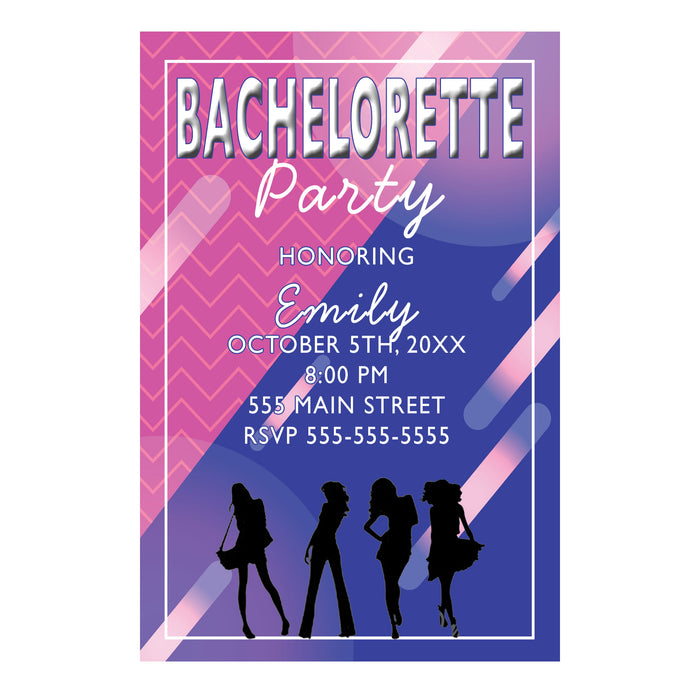 Bachelorette invitation pink blue & envelopes (set of 30)